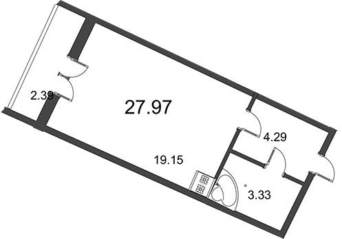 Планировка Студия площадью 27.97 кв.м в ЖК «Мозаика»