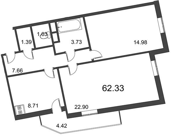 Планировка Двухкомнатная квартира площадью 62.33 кв.м в ЖК «Мозаика»