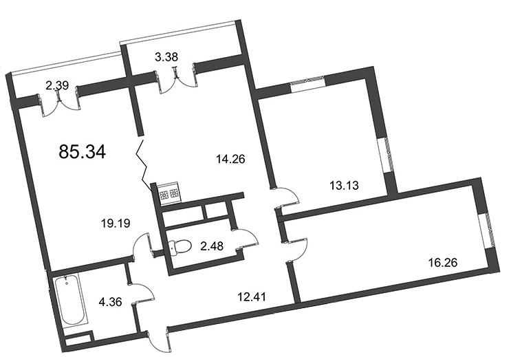Планировка Трёхкомнатная квартира площадью 85.34 кв.м в ЖК «Мозаика»