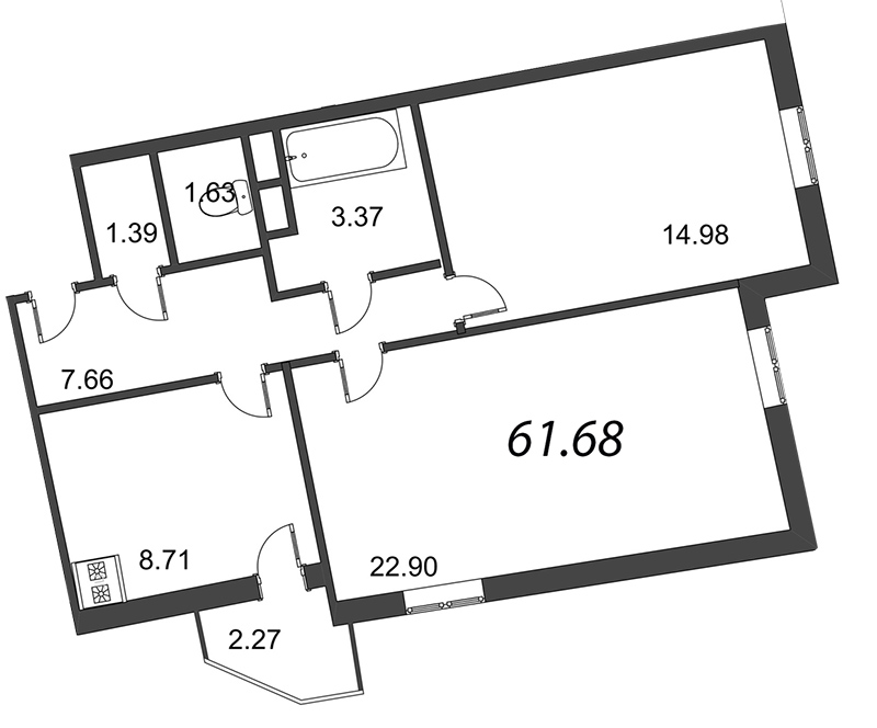 Планировка Двухкомнатная квартира площадью 61 кв.м в ЖК «Мозаика»