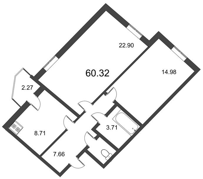 Планировка Двухкомнатная квартира площадью 59.9 кв.м в ЖК «Мозаика»