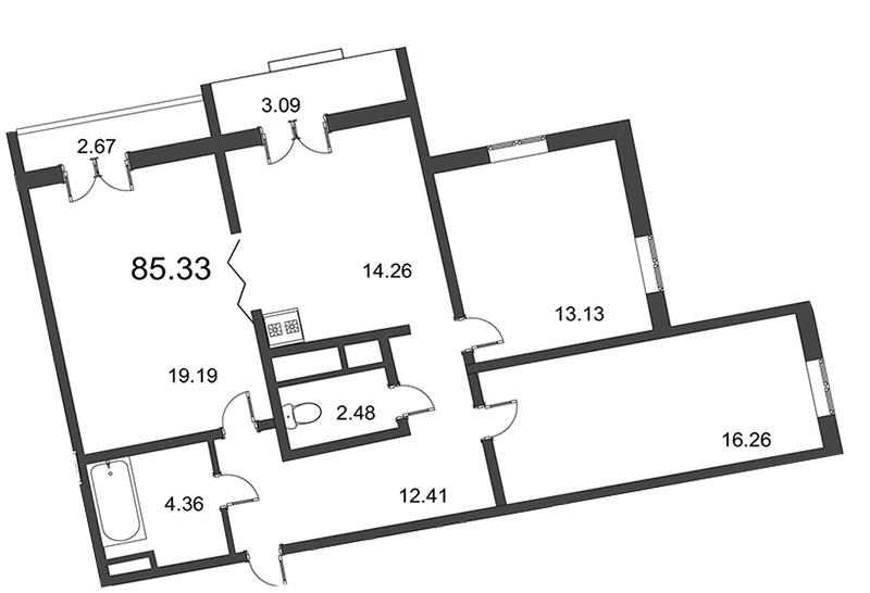 Планировка Трёхкомнатная квартира площадью 87.1 кв.м в ЖК «Мозаика»