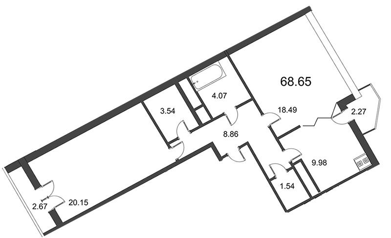 Планировка Двухкомнатная квартира площадью 68.65 кв.м в ЖК «Мозаика»