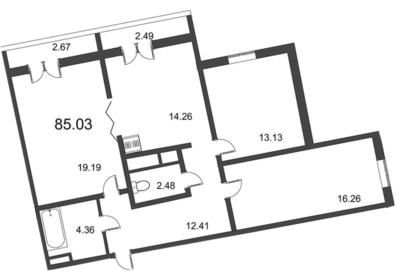 Планировка Трёхкомнатная квартира площадью 85.03 кв.м в ЖК «Мозаика»